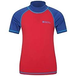 Mountain Warehouse T-Shirt Enfants Anti-UV - Protection Solaire UPF50+, Séchage Rapide, Coutures Plates - pour Nager et sous Une Combinaison de plongée Rouge 9-10 Ans