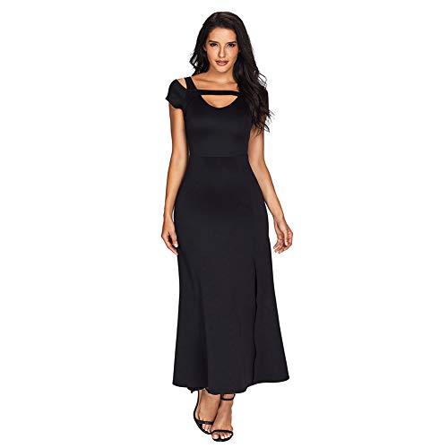 SAMGU Maxikleider Damen Frauen V-Ausschnitt Kurzarm Maxi-Jersey-Kleid Lady Cold Schulter Split Hem Cocktail Party Maxi-Kleid Schwarz-L -