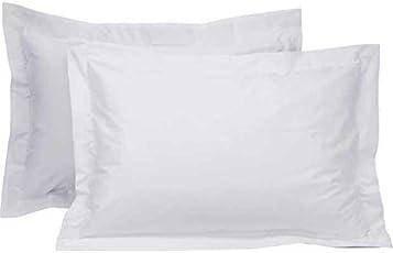 "RR Creations 600TC Premium Cotton Silken Soft Feel King Size Solid Plain Pillow Covers - White - 18""x 27"" - Set of 4"
