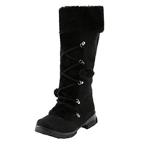 Vente!!! Bottes au genou en daim, boules de cheville, bottes d'équitation, dames, talon plat, bout fermé, doublure en fourrure, hiver, bottes de neige chaudes, confortabl