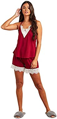 Contrast Lace Trim Racerback Cami and Shorts Set For Women Closet by Styli
