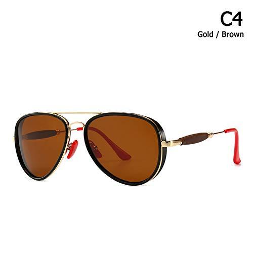 Taiyangcheng Aviation Punk Sunglasses Red Nose Pad Herren Polarisierte Sonnenbrille,C4