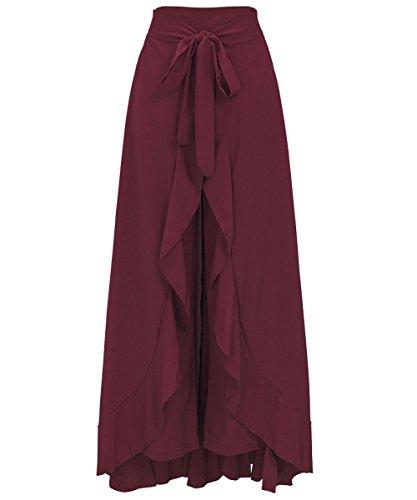 Misschicy womens zerzauste unregelmäßigen chiffon - hosen hoch tailliertes kleid damen culottes lange party rock (Weinrot, XX-Large)