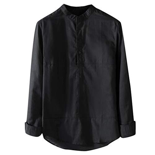 T.boys Leinenhemd Langarm mit Stehkragen Herren Herbst Winter Casual Hemden Leichte Atmungsaktives Bequem Hemden Shirts -