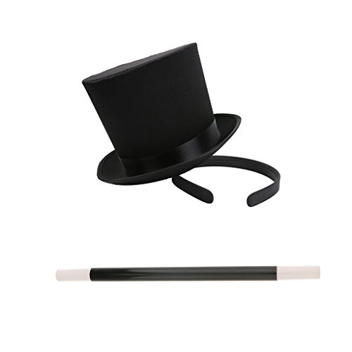 MagiDeal Schwarz Mini Hut Haarreif Party Hut Zylinder Hut Stirnband und Zauberstab für Karneval Cosplay Party