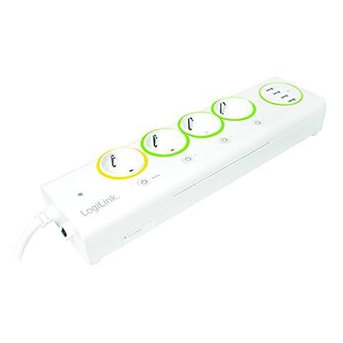 LogiLink LogiSmart Master / Slave Steckdosenleiste mit 4x USB, Strommessung und Schalter, 1 Stück, Weiß,