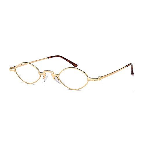 KCJKXC Kleine Ovale Sonnenbrille Frauen Männer Vintage Rot Braun Rosa Sonnenbrille Metallrahmen