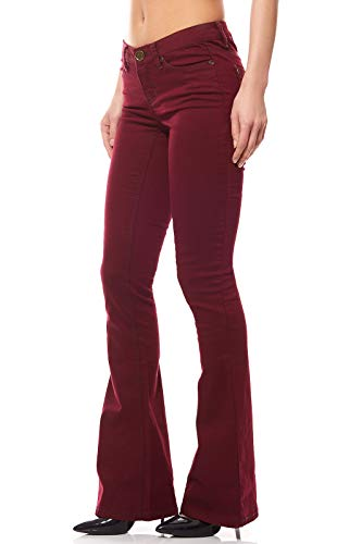 763d27b995974c AjC Schlaghose Stretchjeans Damen Hose Jeans Violett, Größenauswahl:32