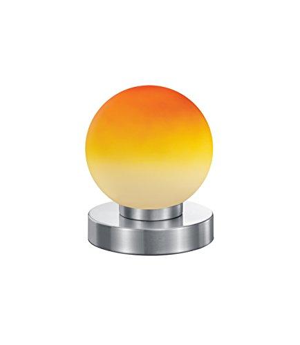 Touch-lampen (Reality Kugellampe Lampe Tischleuchte Touch Me Dimmer ~ Nickel matt, Glas opal orange)