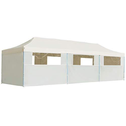 Decolla Faltbarer, wasserdichter Partyzelt-Pavillon Mät 8 Seitenwänden, 3 x 9 Mä creMäfarben für den Außenbereich, den Innenhof, den Garten und den Balkon