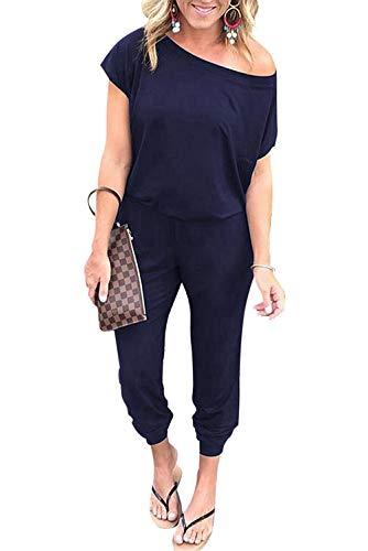 CLOUSPO Jumpsuit Damen Elegant Sommer lang Overalls Einer Schulter Kurze Ärmel Elastische Taille Rompers mit Taschen(Verpackung/MEHRWEG) (Large, Marineblau)