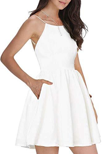 FANCYINN Damen Sommerkleid Armellos Spaghetti-Armband Kleider Elegant Rückenfreies Kurze Kleid Minikleid Weiß S(34-36) (Weißes Kleid Frauen Kurzes Für)