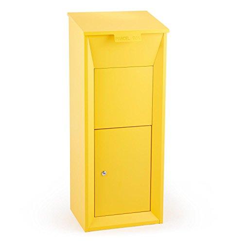 Waldbeck Postbutler • Paketpostkasten • Briefkasten • Standbriefksten • Paketbox • Fertig Montiert • Für Pakete max. 33 x 19 x 30 cm • Abschließbar • 3-Punkt-Schloss • Bodenverankerung • gelb
