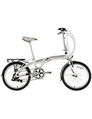 "FalconGo-To Unisex Road Bike White, 13"" inch aluminium frame, 7speed 20"" tyres with city style tread pattern alloy v type brakes"