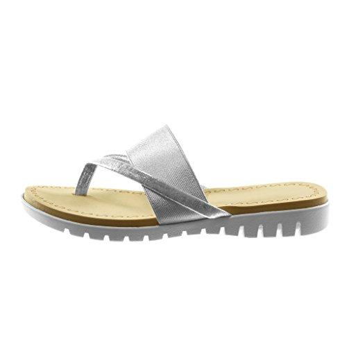 Angkorly Scarpe Moda Sandali Infradito Slip-On Metallico Suola di Sneaker Donna Lucide Tacco Zeppa 2.5 cm Argento