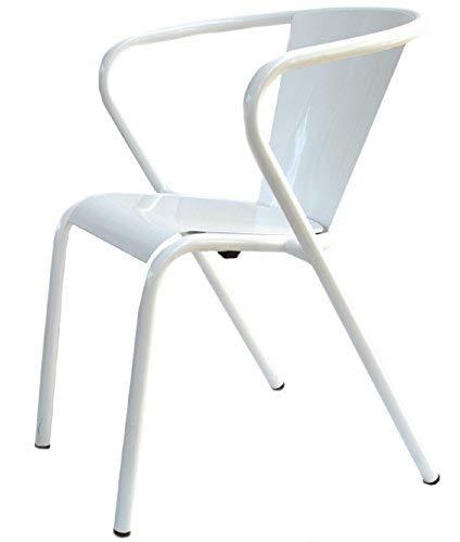 Terassenstuhl Gartenstuhl Metall weiß | Designklassiker aus Lissabon | robust wetterfest stapelbar ...