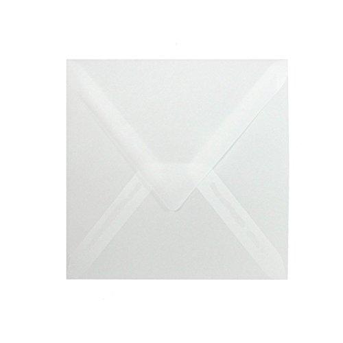 50 quadratische Briefumschläge, Farbe: Transparent, Format: 160 x 160 mm (16 x 16 cm) mit Dreieckslasche