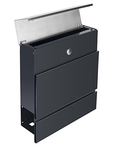 Frabox LENS Edelstahl / Anthrazitgrau Design Briefkasten - 5