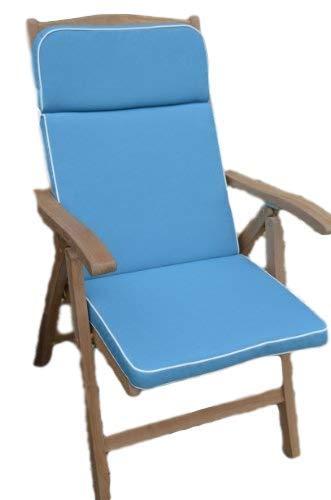 Luxus-Gartenliege Auflage mit Premium-Füllung und Stoff-NUR Sitzkissen, Hellblau