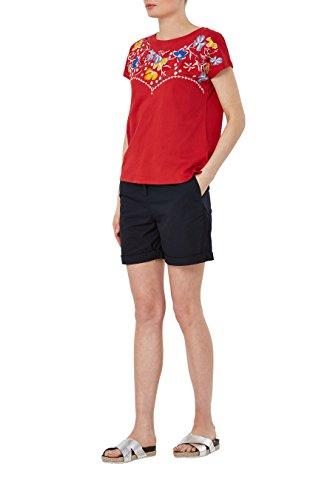 next T-shirt à fleurs brodées Standard Femme Rouge