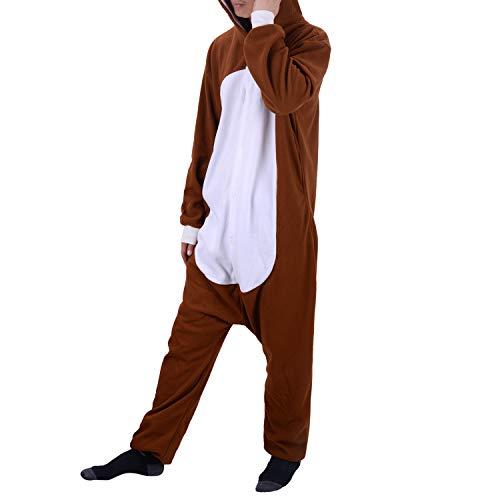 WhiFan Einhorn Pyjamas Kostüm Jumpsuit Tier Schlafanzug Karneval Halloween kostüm mädchen Junge Kinder Unisex (Brown Bear Pyjama Kostüm)