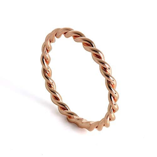 JewelleryBox Rotgold getaucht Sterlingsilber Gedrehtes Seil Stapelring 62 (Erhältlich 46-67)