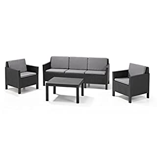 Allibert by Keter Chicago 5 Seater Rattan Lounge Set Outdoor Garden Furniture - Graphite with Grey Cushion