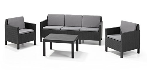 allibert by keter chicago 5 seater rattan lounge set outdoor garden furniture graphite with. Black Bedroom Furniture Sets. Home Design Ideas