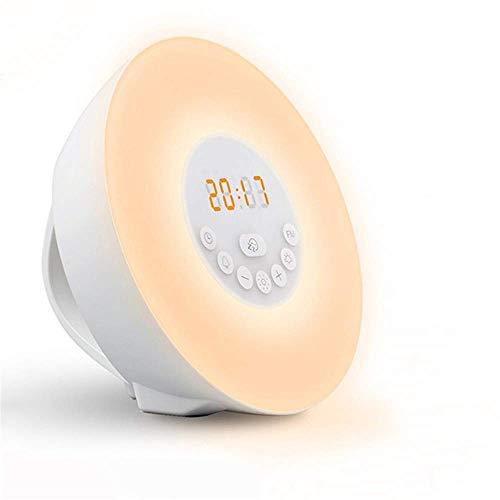 Globeks Simuliertes natürliches Wecklicht für den Sonnenaufgang, FM-Radiowecker, 6 Arten von Naturgeräuschen und 7 Farben, Augenschutz, Touch-Steuerung, Schlummerfunktio Fest