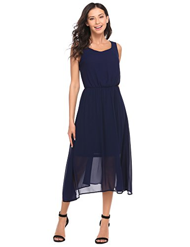 Chigant Damen Elegante Chiffon Kleider Sommer Midikleider Abendkleider Brautjungfernkleider Blau Weiß Schwarz Lavendel