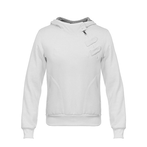AIRAVATA Hombres Suéter Chico Larga Manga Moda Pull-Over Blanco Negra Raya Sudadera Con Capucha Sports Camisa De