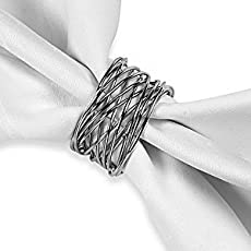 Homesake Twisted Wire Napkin Ring in Silver Finish, Set of 6