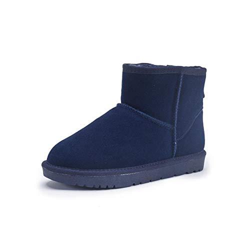 FF Schneeschuhe Weibliche Kurze Stiefel Warme Baumwolle Schuhe Student Verdicken Plus SAMT Echtem Leder Rindsleder Flache Rutschfeste damenstiefel (Farbe : Blue, Size : EU39/UK6.5/CN40)