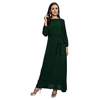 Lady Strak Women's Western Mandarin Long Sleeve Green Dress