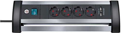 Brennenstuhl Alu-Office-Line, Steckdosenleiste 4-Fach, für Den Schreibtisch (1,8m Kabel, 2-Fach USB) Farbe: alu/schwarz