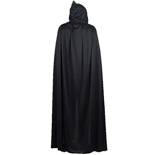 Gywttg Halloween Kostüm Adult Death Cosplay Kostüme, Schwarzer Kapuzenumhang, Scary Witch Devil Rollenspiel Cosplay Long Black Cloak (Black Star Cosplay Kostüm)