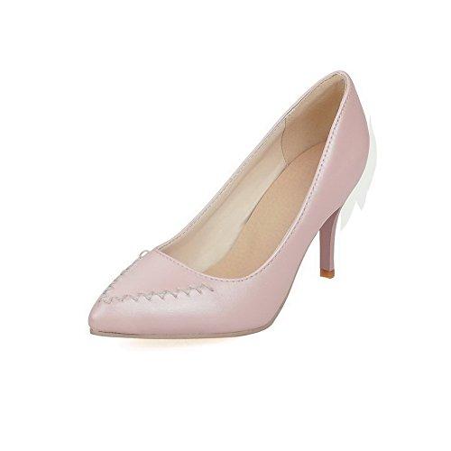 AllhqFashion Femme Couleur Unie Pu Cuir à Talon Haut Pointu Tire Chaussures Légeres Rose