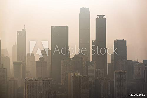 druck-shop24 Wunschmotiv: Big City Skyline in smog with Skyscrapers silouhettes #210621681 - Bild als Klebe-Folie - 3:2-60 x 40 cm / 40 x 60 cm (City 3 Smog)