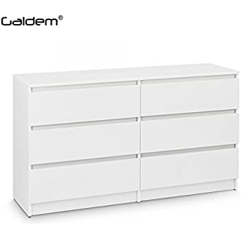 Kommode Mit 6 Schubladen 140cm Sideboard Mehrzweckschrank Anrichte Diele  Flur Esszimmer Wohnzimmer Weiß
