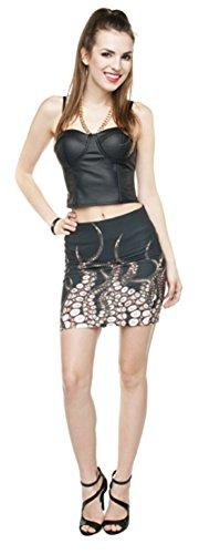 Damen Mini Rock Supermini Octopus Arms Minirock Hüftrock Stretchrock Party Sommerrock Blickdicht (Marihuana Joint Kostüm)