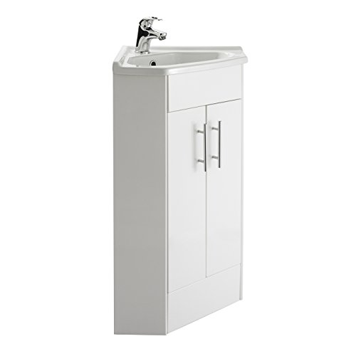 Premier NVC180A Mayford - Mueble de baño con lavabo, para esquina, 555mm de alto, con alto brillo, blanco