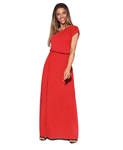 KRISP Damen Bodenlanges Einfarbiges Leichtes Kleid (Rot, Gr.38), 3269-RED-10 -