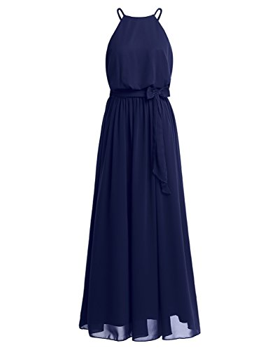 iiniim Women Elegant Chiffon Halter Neck Bridesmaid Evening Party Long Formal Dress with Tied Sash Navy Blue Tag 10/UK 14