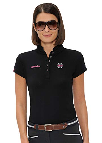 SPOOKS Poloshirt Damen Mädchen Kinder, Polo Shirt tailliert Sommer Tshirt Hemd Sport - Damenpoloshirts Kurzarm Viola - Black XL - Polo-shirts Frauen