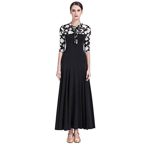 Kostüm Illusion Dance - KLEDDP Tanzkleid Frauen Langarm Ahorn Gesellschaftskleid Erwachsenen Modern Dance Kostüm Gesellschaftskleid (Color : Black, Size : S)