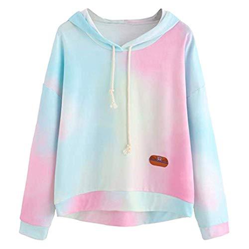 ZHRUI Damen Hoodie Color Block Tie Dye Sweatshirt Langarm (Farbe : Blau, Größe : M) (Blau Und Weiß Tie-dye Hoodie)