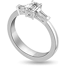 0.40ct F/VS1 Diamante Trilogy Anello da Donna con Smeraldo & Baguette diamanti in 18kt Oro bianco - Smeraldo Baguette Anello