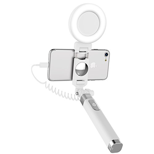 ROCK iPhone 7 Bastone Selfie con LED la luce,LED Fill light Selfie Stick[iPhone Lightning Spina][Specchio][183mm a 695mm]per iPhone 6/6s,iPhone 6 Plus/6s Plus,iPhone 7/7 Plus - Bianca
