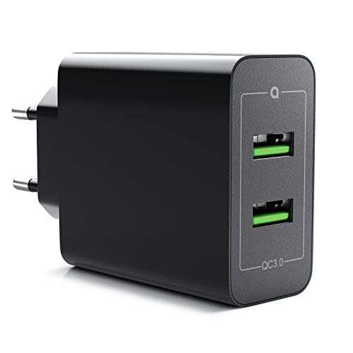 CSL - 36W Ladegerät 2 Port Quick Charge 3.0 | USB Netzteil 6000 mA insgesamt | Schnellladefunktion | Smart Charge + Solid Charge | für iPhone iPad Samsung Galaxy Nexus HTC Motorola LG UVM