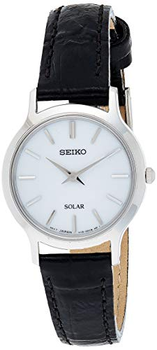 Seiko Damen Analog Solar Uhr mit Leder Armband SUP299P1